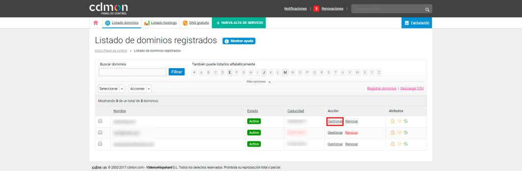Transferir un dominio de otro proveedor a SERED