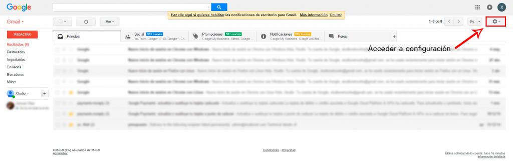 Añadir cuentas de correo en un mismo Gmail