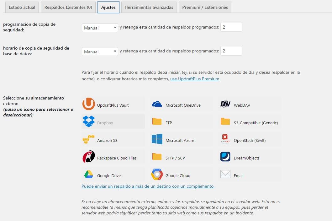 WordPress copias de seguridad en Dropbox