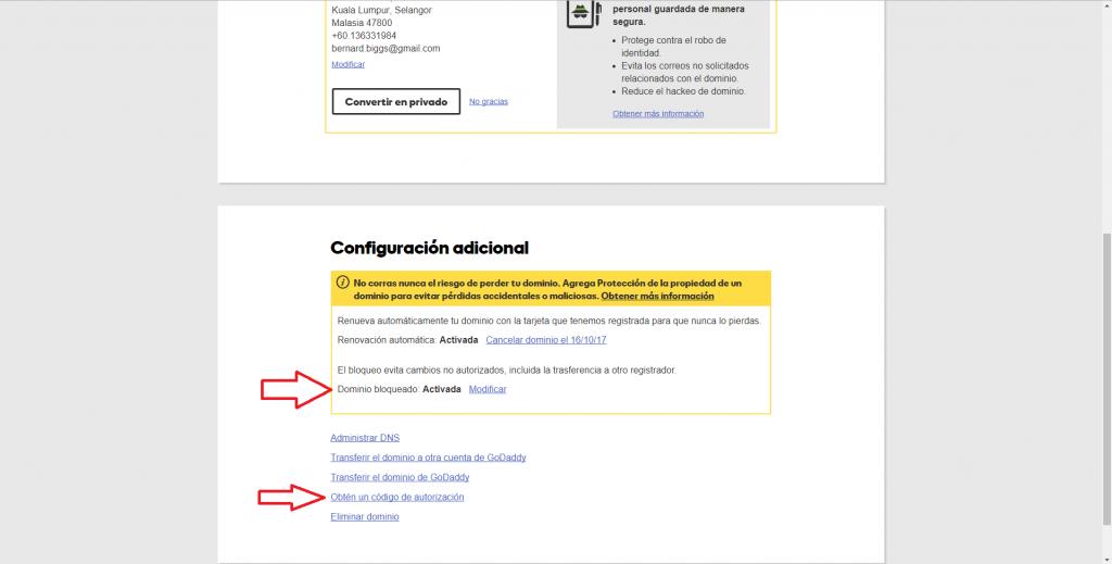 Imagen de obtención de AUTH Code